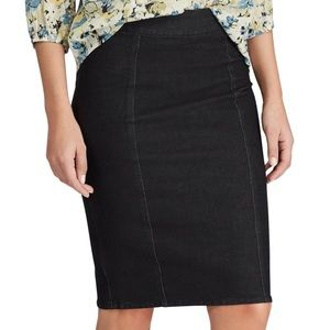 Women's CHAPS Black Denim Pencil Skirt